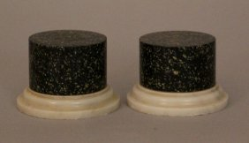 Pair Of Black Or Green Porphyry Collumn On Stepted