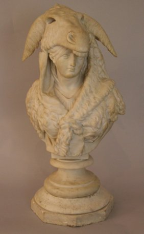 Italian Bust Of A Young Girl With Donkey Head Cape And