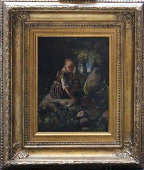 German School Mid 19th Century, Two Girls In Landscape,
