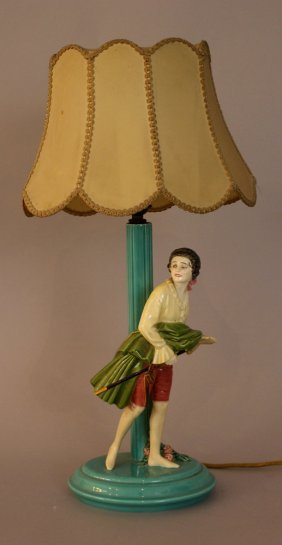 Art Deco Ceramic Table Lamp, A Girl In Historic Costume
