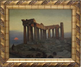 Artist Late 19th Century, Greek Sunrise With A Goat And
