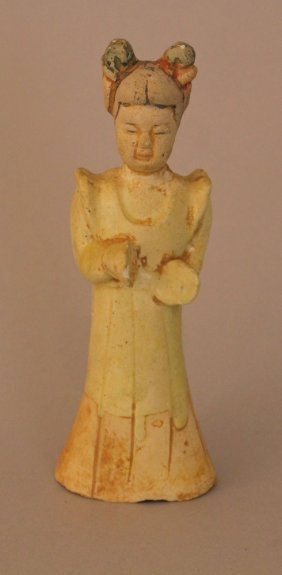 Chinese Terracotta Figure Of A Maid In Long Dress With