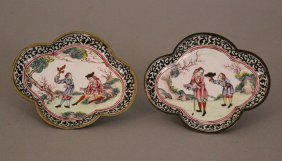 Pair Of Enamel Dishes With Western Tradesman In