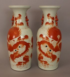 Pair Of Large Chinese Porcelain Red Fo Lion Vases, With