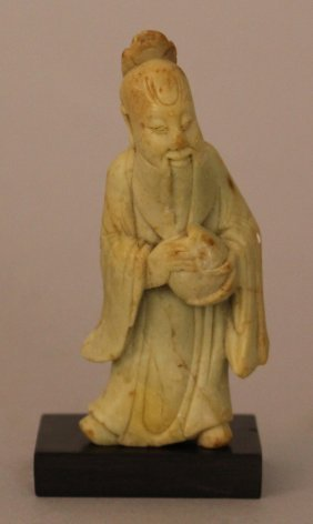 Chinese Jade Or Jade-type Stone Sculpture Of A Man In