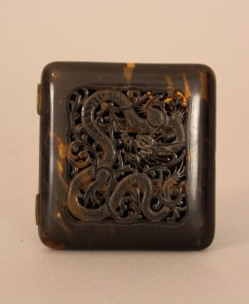 Chinese Cigarrette Box, Tortoishell Polished And Carved