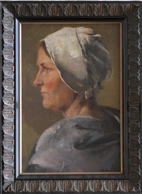 Swiss School Around 1900, Portrait Of A Lady With Cape,
