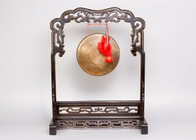 Chinese Gong, Bronze Plate On Wooden Stand, Carved With