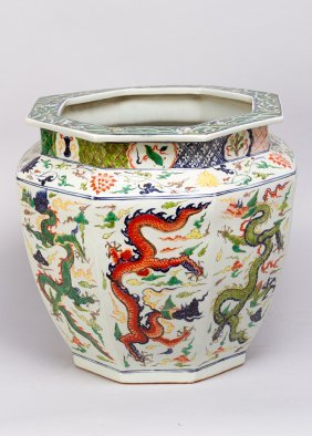 Large Chinese Porcelain Pot In Octagonal Round Form