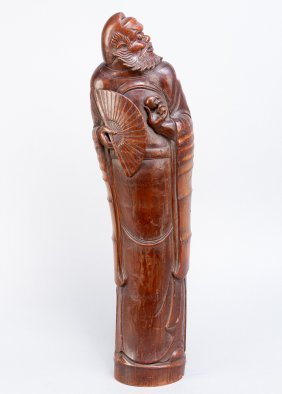 Bamboo Sculpture, Of A Honrable Person Or Mandarin,