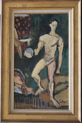 Louis Latapie(1891-1972) Athlete, Oil On Paper Laid