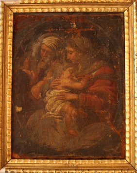 Central Italian School 17th Century, Maria With Saint