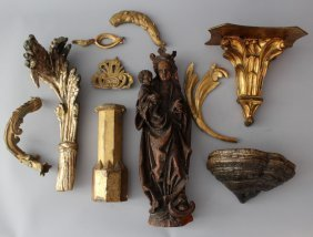 Lot Of 10 Wood Carvings And Decorations, In Different