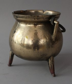 German Or Dutch Bronze Vessel On Three Feet With Two