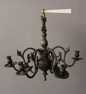 Small Pewter Chandlier With Six Branches And Spouts,