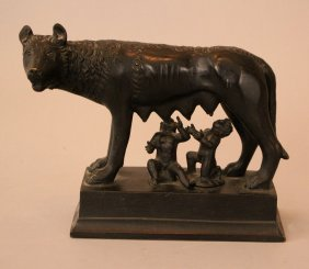 Bonze Sculpture Of The Roman Capitoline Wolf With
