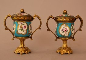 Pair Of French Porcelain Vases With Porcelain Lid,