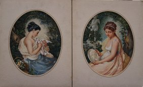 East European Artist Mid Of 19th Century, Pair Of