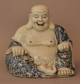 Chinese Porcelain Smiling Buddha, In Sitting Possition,