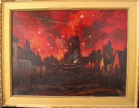 European School Early 20th Century, Fire In A Town;