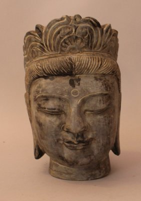 Stone Head Of An Asian Goddness, Deeply Carved With