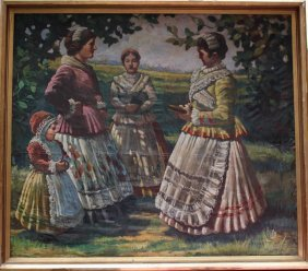 Russian Artist, Four Girls In Traditional Dresses In