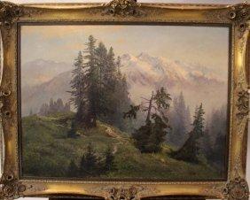 Konrad Petrides (1864-1943), Mountain View In Tirol