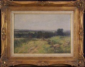 German Grobe (1857-1938), Landscape; Oil On Panel,