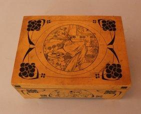Art Nouveau Wooden Smoker's Tabac Box; Rectangular Form