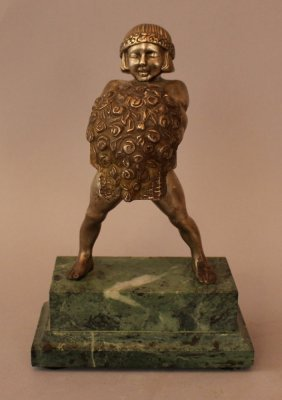 Art Nouveau Sculpture Of A Young Girl Holding A Bunch