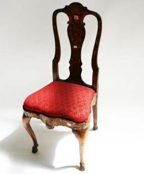 A Dutch Floral Marquetry Side Chair, 18th Century,