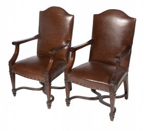 A Pair Of Good Quality Mahogany Library Armchairs,
