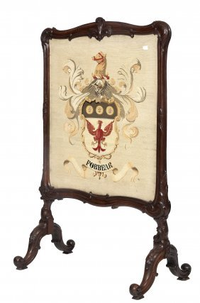 A Carved Rosewood Cheval Firescreen, Victorian, Th