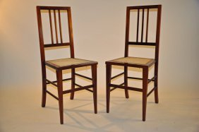 A Pair Of Edwardian Inlaid Mahogany Side Chairs Or