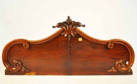 A Victorian Sideboard Back,  Now A Headboard, 51.5
