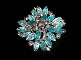 Blue Ice Rhinestone Brooch