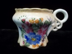 Limoges Hand Painted Mustache Cup 3.5 Inch