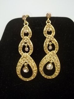 Gold Rhinestone Earings