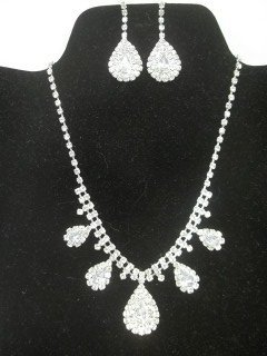 Rhinestone Necklace Earings Set