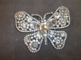Large Rhinestone Butterfly Brooch