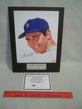 Sandy Koufax Autograph Photo W COA