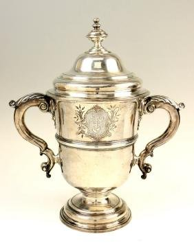 A Large Sterling Silver Georgian Covered Urn. London,