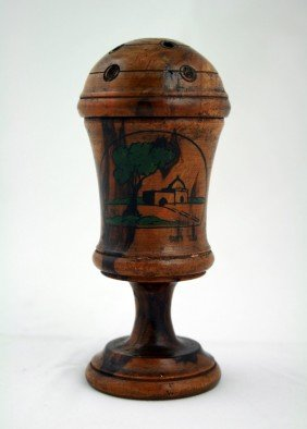 A BEZALEL OLIVEWOOD SPICE CONTAINER. Palestine, C.