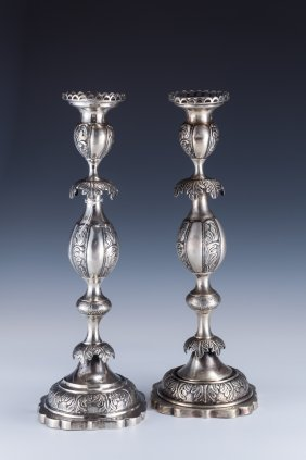 A MASSIVE PAIR OF SILVER CANDLESTICKS BY RABINOVITZ