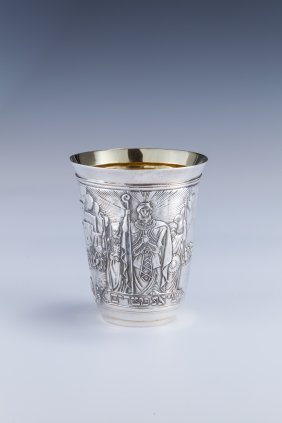 A MASSIVE SILVER PASSOVER CUP BY HENRYK WINOGRAD. N