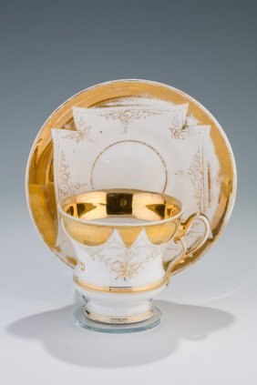 A Porcelain Tea Cup And Saucer. Germany, C. 1880.
