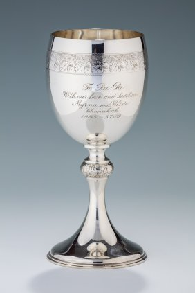A Monumental Sterling Silver Kiddush Goblet By Wood And