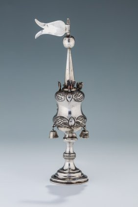 A Sterling Silver Spice Tower. London, 1908. On Round