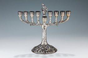 A Silver Chanukah Menorah. Germany, Late 19th Century.