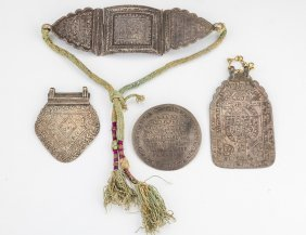 A Group Of Four Amulets. Middle Eastern, 19th Century.